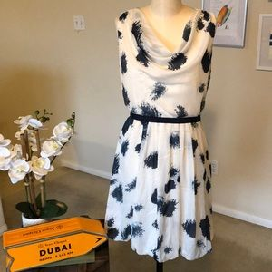 LOFT fit and flare dress with bubble hem